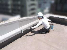 屋上防水工事、下塗り